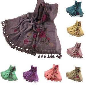 Women-Long-Tassel-Scarf-Embroidery-Shawl-Cotton-Linen-Wrap-Head-Stole-Scarves
