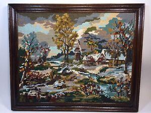 Paysage Et Village ,cadre tableau broderie au point de croix encadrée fait main, | eBay
