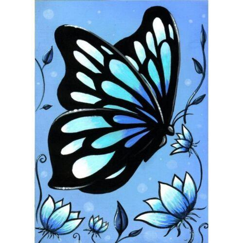 Full 5D Drill Diamond Painting Cross Stitch Blue Butterfly Craft Art Handmade