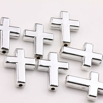 Wholesale New 10Pcs Silver Plated Acrylic Cross Beads Jewelry Findings 24x18x5mm