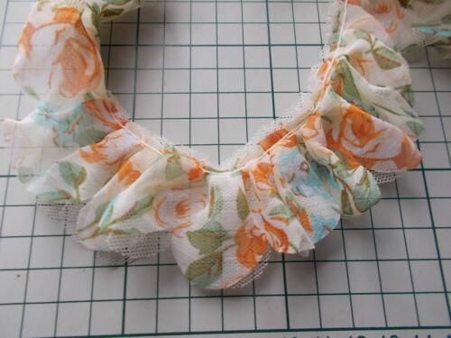 Jaune Motif Floral Froncé Dentelle-Choisir Rose Pêche Vert Blanc