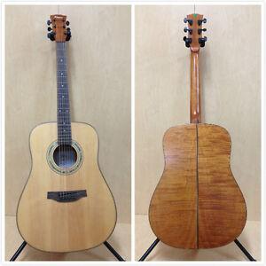 4-4-Klema-K200DS-Solid-Spruce-Top-Dreadnought-Acoustic-Guitar-Matt-Free-Gig-Bag