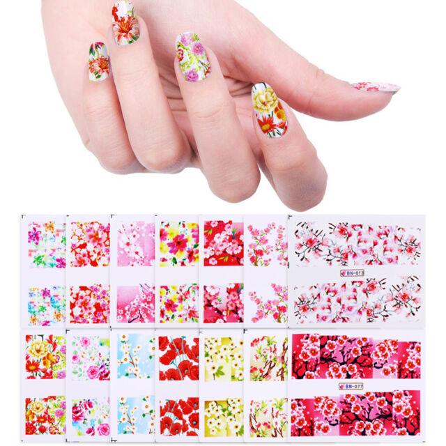 24 Sheets Nail Water Decals Sakura Daisy Rose Floral Nail Art ...