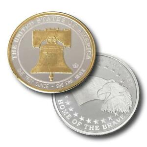 1-1-oz-999-Fine-Silver-Round-Liberty-Bell-24-K-Gold-Detail-BU-in-Capsule