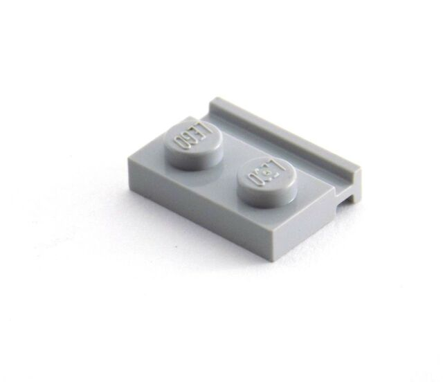 Lego 32028 Plate Modified 1 x 2 with Door Rail Light Gray Set of 25