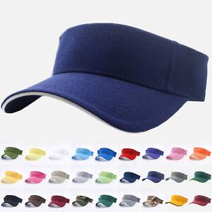 Visor Sun Hat Golf Tennis Beach Mens Cap Adjustable Summer Plain Colors Sandwich