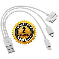 4 in1 USB CHARGING CABLE LEAD iPad iPod Charger iPhone 3GS 4S 5S Lightning Micro
