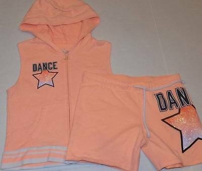 7b99b2380b37b4 justice girls hoody size 14 orange sleeveless dance outfit matching shorts