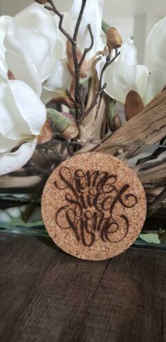 4 PACK  HOME SWEET HOME Laser Engraved Cork Drink Coasters  FREE SHIPPING