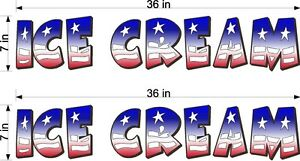 PAIR-OF-7-034-X-36-034-VINYL-DECALS-ICE-CREAM-RED-WHITE-BLUE-FLAG-STYLE-TRUCK-CART