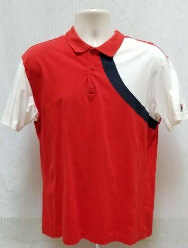 Vintage 1980's FILA Red Blue White Polo Shirt - M… - image 1