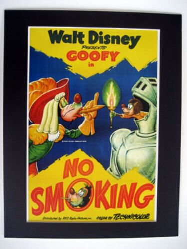 GOOFY~WALT DISNEY~11x14 Mat Print~NO SMOKING~KNIGHT~/'NEED A LIGHT?/'~NEW