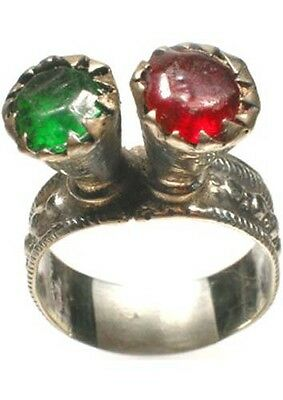 18thC Russian Crimean Tatar Silver Ring Ruby Red Emerald Green Glass Gems SzSz9¾