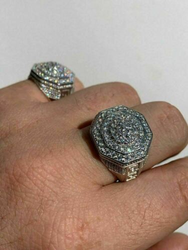 Men/'s Solid 925 Sterling Silver Big Octagon Hip Hop RING Super Iced Large Pinky