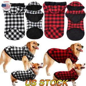 Dog-Winter-Coat-Thicker-Fleece-Hoodie-Jacket-British-Plaid-Pet-Warm-Outfit-Vest