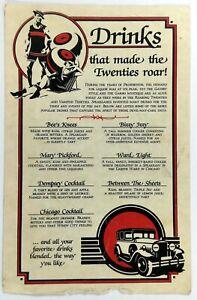 1992 Vintage Drink Menu Card THE HIDEOUT Restaurant Couderay Wisconsin Al Capone
