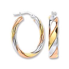 Argento Sterling, Ovale Orecchini A Cerchio Con Rosa & Giallo Dettaglio In Oro
