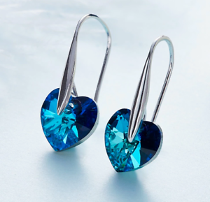 18K-White-Gold-Filled-Genuine-Bermuda-Blue-Hook-Drop-Earring-ITALY-MADE