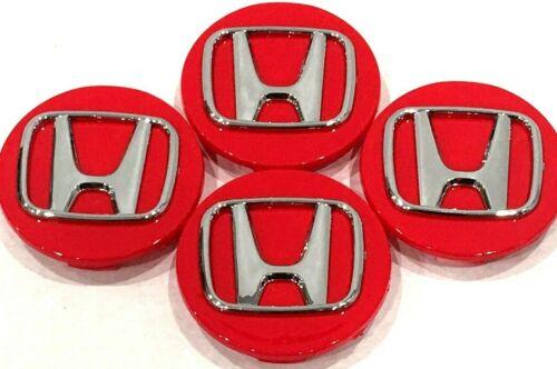 "H4 Accord Civic City CRV Fit CRZ 69 MM // 2.75/"" 4 Pcs Honda Red Chrome Logo"