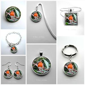 Robin Earrings Keyring Bracelet Bookmark Necklace Brooch Photo Art Jewellery