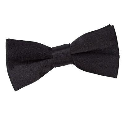 Inventivo Dqt Raso Plain Solid Black Comunione Pagina Ragazzi Pre-legato Bow Tie- Facile Da Usare
