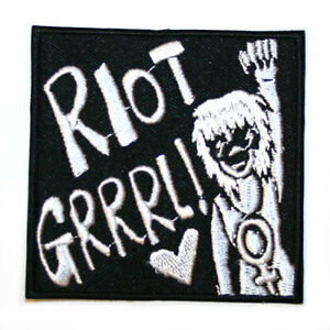 Riot-Grrrl-Feminist-Feminism-Iron-On-Patch-Embroidered-Sew-On-Black