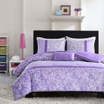 BEAUTIFUL MODERN PURPLE LAVENDER FLORAL POLKA DOT GIRLS COMFORTER SET & PILLOW