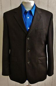 BANANA-REPUBLIC-Mens-Brown-Striped-Cashmere-Blend-Three-Button-Blazer-40S