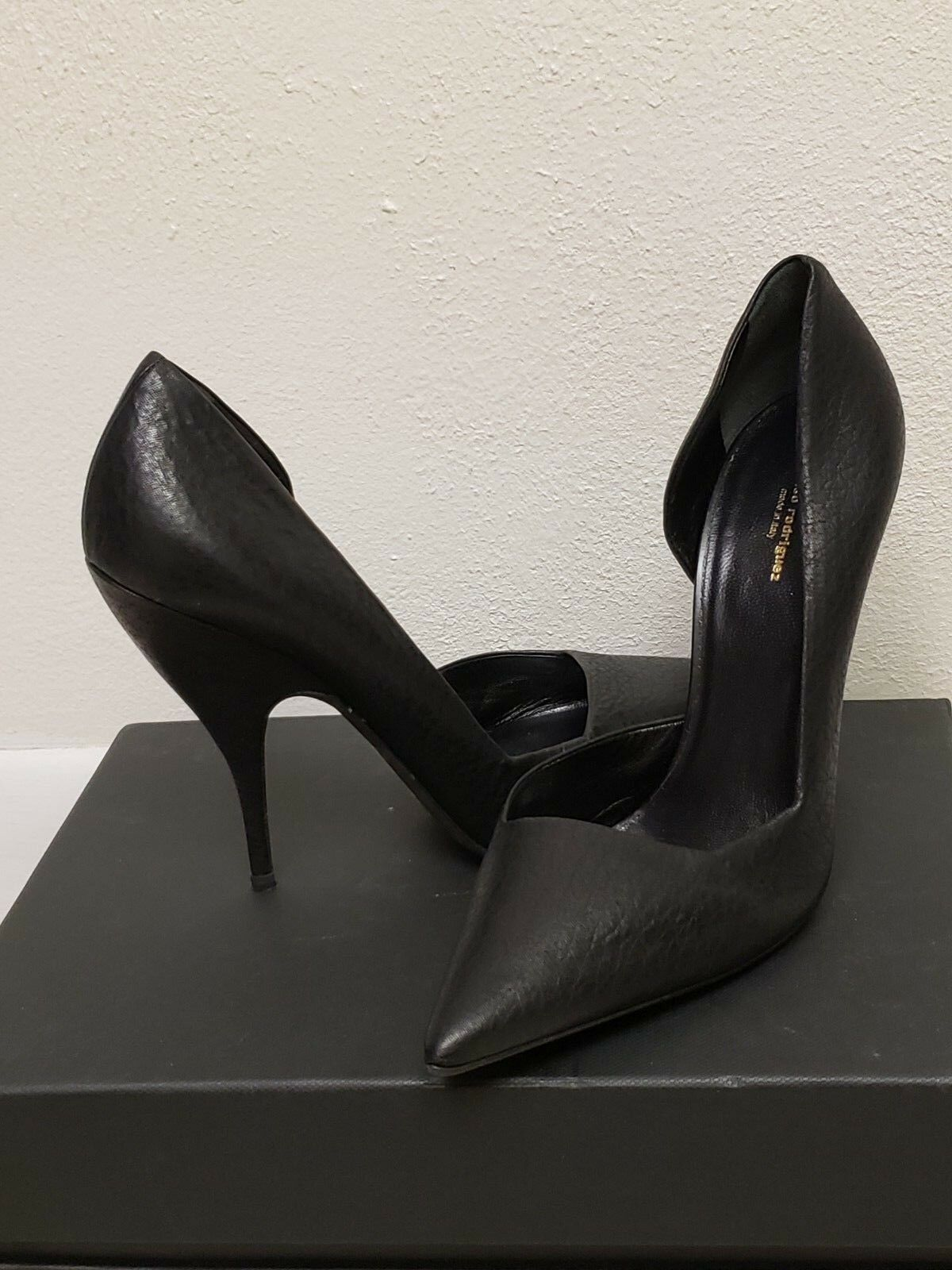 Narciso Rodriguez Zehen Zeigen Pumps Schuhe Schwarz Asymmetrisch Euc Sz 39.5