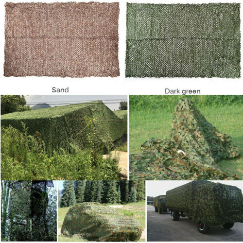 Military Camouflage Netting Hunting Camping Camo Net Woodland Desert Leaves Y2X8