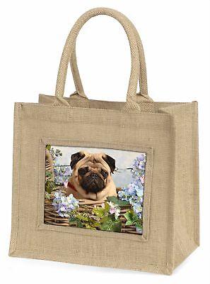 beige Mops Hund im Korb große natürliche jute-einkaufstasche weihnachten-gi,