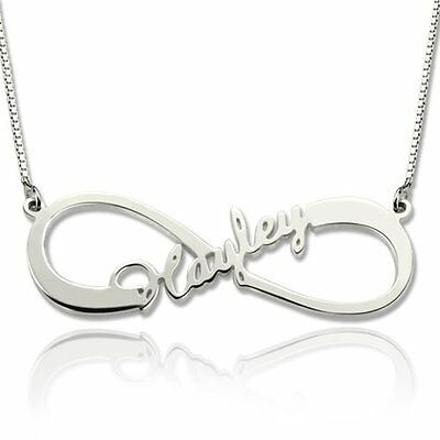 Personalized Jewelry Sterling Silver Infinity Any Name Necklace Custom Length