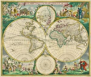 MP Vintage Nova Orbis Tabula World Map Poster RePrint A A - A1 world map poster