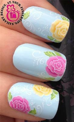 NAIL ART WRAPS WATER TRANSFERS STICKERS DECALS SET PINK YELLOW LARGE FLOWER #219