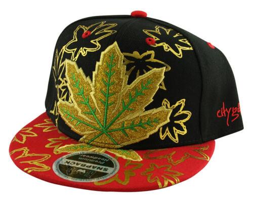 Men/'s 420 Gold Glitter Ganja Leaf SNAPBACK Flat Peak Cap Snap Back Baseball Hat