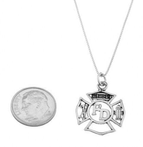STERLING SILVER FIRE DEPARTMENT MEMBER MALTESE CROSS CHARM W// BOX CHAIN NECKLACE