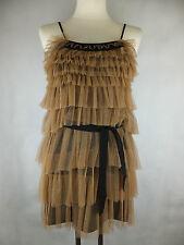 Liu Jo Rüschen Kleid - 34 schwarz camel beige braun neu mit Etikett - Lagen Look