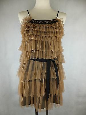 Liu Jo Rüschen Kleid - 36 schwarz camel beige braun neu mit Etikett - Lagen Look