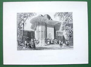 CONSTANTINOPLE-FOuntain-in-Galata-BARTLETT-Antique-Print-Engraving