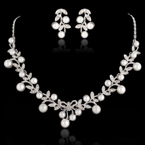 Bridal Wedding Necklace Earring Jewellery Luxury White Pearl /& Silver Gift Set