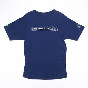 ADIDAS-Notre-Dame-FOOTBALL-2008-Navy-Blu-Sport-T-shirt-taglia-small-uomo