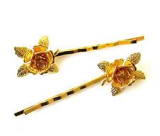 2 x Gold Rose Flower Hair Grips Baroque Flower Bobby Pins Clips Bridal Vtg 1178