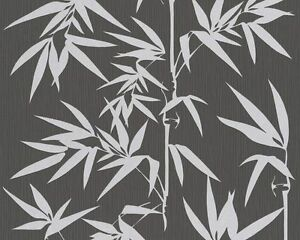Details About Contemporary Silver Bamboo On Black Textured Wallpaper 2936 40