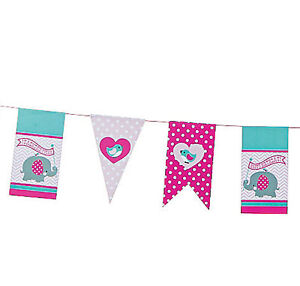BABY ELEPHANT PARTY Happy Birthday Hanging Garland Banner Elephants Free Postage