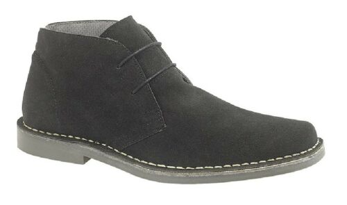 Roamers M420 Classic Casual Stitched Sole Lace Up Desert Boots Black Real Suede