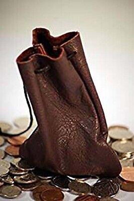 Medievale/larp/sca/pagan/ricco Cioccolato Marrone Pelle Coulisse Borsa Del Denaro Sacchetto-sca/pagan/rich Chocolate Brown Leather Drawstring Money Bag Pouch It-it Mostra Il Titolo Originale In Molti Stili