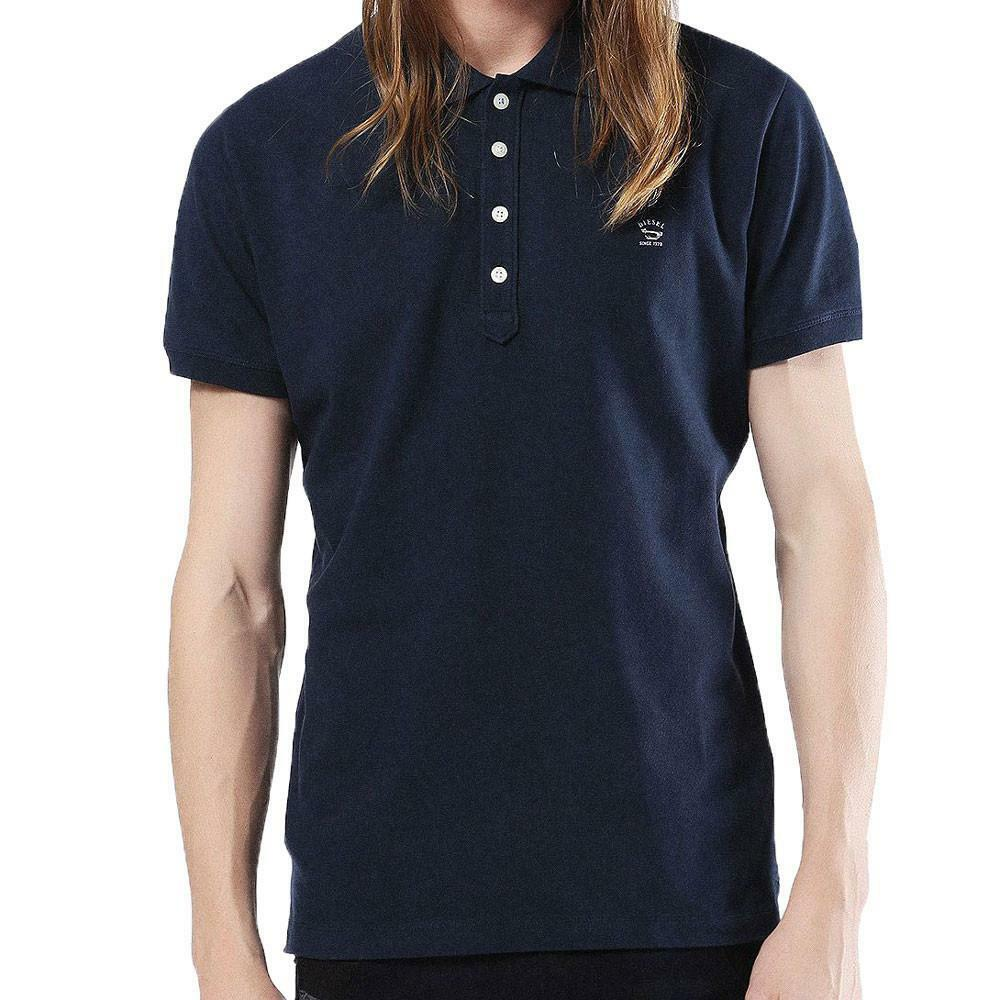 Diesel Jeans  Herren T-Yahei  Polo T Shirt Short Sleeve Navy Blau Ship Worldwide