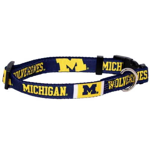 NEW MICHIGAN WOLVERINES DOG PET PREMIUM ADJ NYLON COLLAR ALL SIZES LICENSED