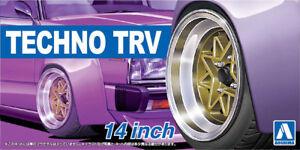 14 Zoll Techno TRV Felgen & Reifen Wheels 1:24 Model Kit Bausatz Aoshima 053867