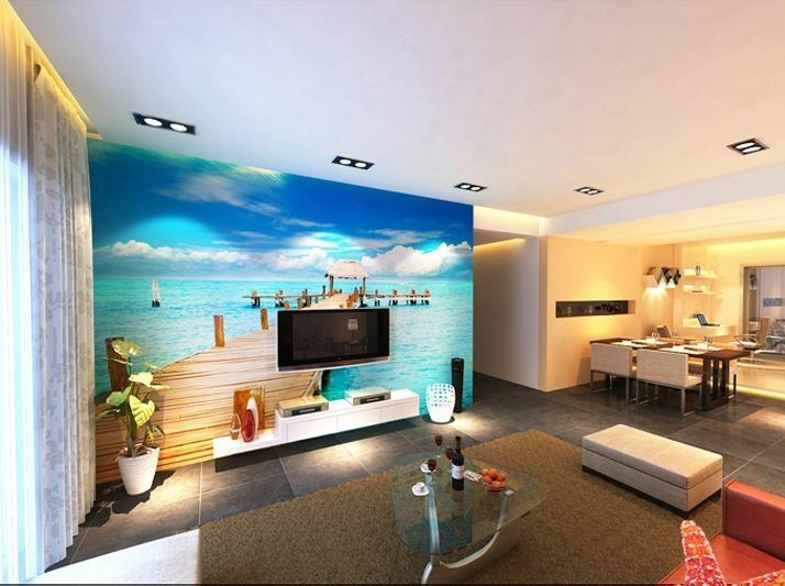 3D Fresh Sea Boardwalk Paper Wall Print Decal Wall Deco Indoor wall Murals